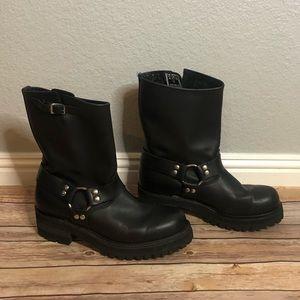 FRYE Engineer Moto Boots Black Leather